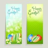 Insieme delle schede di pasqua con le uova Fotografie Stock Libere da Diritti