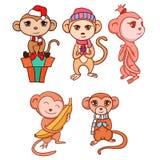 Insieme delle scimmie disegnate a mano del fumetto Immagini Stock