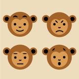 Insieme delle scimmie marroni sveglie Immagine di vettore Immagini Stock Libere da Diritti