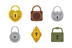 Insieme delle serrature d'annata Lucchetto del fumetto dell'illustrazione di vettore Segreto, mistero o icona sicura Immagini Stock Libere da Diritti