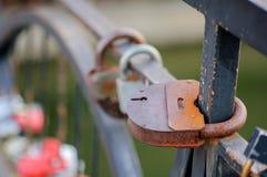 Insieme delle serrature di nozze Serrature chiuse dei formati differenti Immagine Stock