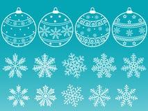 Insieme delle sfere e dei fiocchi di neve. Immagini Stock Libere da Diritti