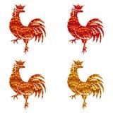 Insieme delle siluette colorate dei galli isolati su fondo bianco Uccello con l'ornamento Zodiaco tradizionale cinese illustrazione vettoriale