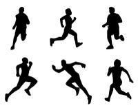 Insieme delle siluette Corridori sullo sprint, uomini Illustrazione di vettore Eseguire l'illustrazione di vettore delle siluette illustrazione di stock