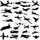 Insieme delle siluette degli aerei Immagini Stock