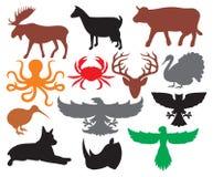 Insieme delle siluette degli animali Fotografia Stock