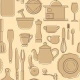 Insieme delle siluette degli utensili della cucina Stile dell'annata Illustrazione di vettore Fotografie Stock