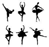 Insieme delle siluette dei danzatori di balletto Fotografia Stock