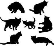 Insieme delle siluette dei gatti Immagine Stock Libera da Diritti