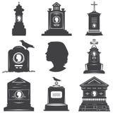 Insieme delle siluette dei monumenti delle lapidi delle tombe delle donne Fotografia Stock Libera da Diritti