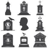 Insieme delle siluette dei monumenti maschii delle lapidi delle tombe Fotografia Stock Libera da Diritti