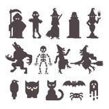 Insieme delle siluette del carattere di Halloween illustrazione vettoriale