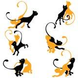 Insieme delle siluette del gattino royalty illustrazione gratis