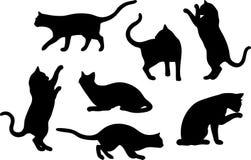 Insieme delle siluette del gatto Fotografie Stock