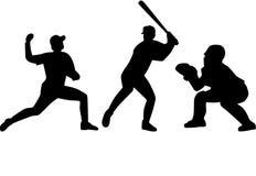 Insieme delle siluette del giocatore di baseball illustrazione di stock