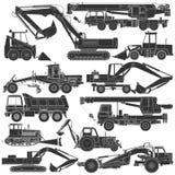 Insieme delle siluette del macchinario di costruzione illustrazione di stock