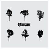 Insieme delle siluette dell'albero Fotografia Stock