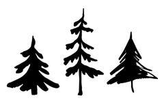 Insieme delle siluette dell'albero di abete Albero di Natale Immagine Stock Libera da Diritti