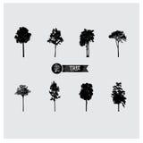 Insieme delle siluette dell'albero di vettore Fotografia Stock Libera da Diritti