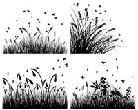 Insieme delle siluette dell'erba Immagine Stock Libera da Diritti