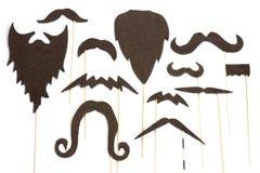 Insieme delle siluette della barba e dei baffi per il partito Fotografia Stock