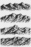 Insieme delle siluette della catena montuosa Fotografia Stock