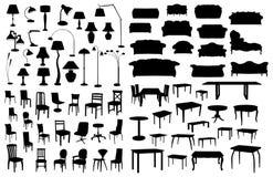 Insieme delle siluette della mobilia Fotografia Stock Libera da Diritti