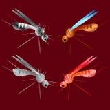 Insieme delle siluette della zanzara isolate su fondo rosso Siluette della zanzara di vettore Zanzara di volo di Aegypti Virus di Immagine Stock