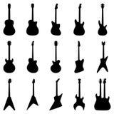 Insieme delle siluette delle chitarre, illustrazione di vettore Immagini Stock Libere da Diritti