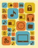 Insieme delle siluette delle icone Fotografie Stock Libere da Diritti