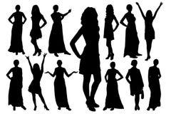 Insieme delle siluette di belle ragazze di modello nelle pose differenti Vettore royalty illustrazione gratis