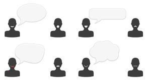 Insieme delle siluette di conversazione Immagini Stock