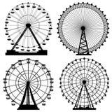 Insieme delle siluette Ferris Wheel. Fotografie Stock Libere da Diritti