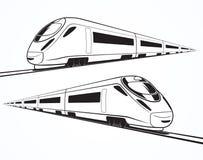 Insieme delle siluette moderne del treno ad alta velocità Fotografie Stock Libere da Diritti