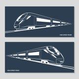 Insieme delle siluette moderne del treno di velocità, profili, contorni Illustrazione di vettore Immagini Stock