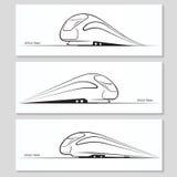 Insieme delle siluette moderne e dei contorni del treno di velocità Fotografie Stock