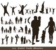 Insieme delle siluette molto dettagliate della famiglia. Immagine Stock Libera da Diritti