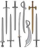 Insieme delle spade e dei sabers Fotografia Stock
