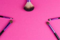 Insieme delle spazzole di trucco Fotografie Stock