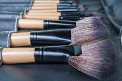 Insieme delle spazzole di trucco in caso della copertura del cuoio del nero di fila Immagine Stock