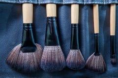 Insieme delle spazzole di trucco in caso della copertura del cuoio del nero di fila Fotografia Stock