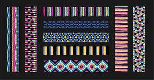 Insieme delle spazzole etniche di arte nello stile africano Il modello azteco Rubinetto orientale del pizzo Fotografia Stock