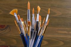 Insieme delle spazzole per la pittura fotografie stock