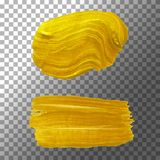 Insieme delle spazzole strutturate scintillanti, base dell'oro Pittura acrilica della perla, sbavatura della pittura dell'oro Ill Immagini Stock