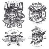 Insieme delle stampe d'annata della maglietta del motociclo illustrazione di stock