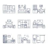 Insieme delle stanze di interior design di vettore nella linea stile in bianco e nero Illustrazione del salone, corridoio, sala d Fotografie Stock