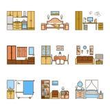 Insieme delle stanze di interior design di vettore nella linea stile variopinto Illustrazione armonica del salone, corridoio, sal Illustrazione Vettoriale