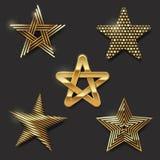 Insieme delle stelle dorate Immagini Stock Libere da Diritti