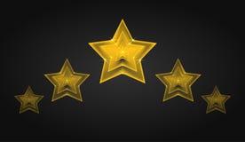 Insieme delle stelle dorate trasparenti di vettore con scintillio Fotografia Stock Libera da Diritti