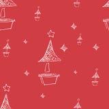 Insieme delle stelle e dell'albero disegnati a mano di chrismas Retro illustrazione dell'annata style Immagine Stock
